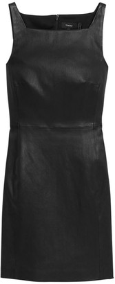 Theory Square-Neck Leather Dress