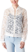 Live A Little White Paisley Lace Bomber Jacket