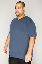 Yours Clothing BadRhino Denim Blue Basic Plain V-Neck T-Shirt - TALL