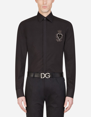 Dolce & Gabbana Cotton Martini-Fit Shirt With Heart Patch