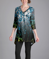 Lily Blue & Black Floral V-Neck Tunic - Plus Too