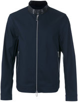 Emporio Armani contrast collar zip jacket - men - Cotton/Lamb Skin/Polyamide/Spandex/Elastane - S