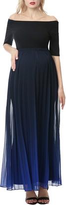 Kimi and Kai Convertible Neck Maternity Maxi Dress