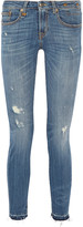 R 13 Alison Crop distressed mid-rise skinny jeans