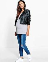 boohoo Maternity Over The Bump Ripped Skinny Jean