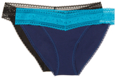 Calvin Klein Underwear Embroidered Waist Thong (2 PK)