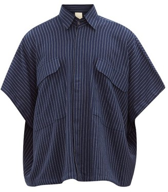 Marrakshi Life - Pinstriped Cotton-blend Oversized Shirt - Mens - Navy