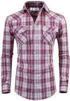 Tom's Ware Mens Stylish Slim Fit Cotton Plaid Pocket Longsleeve Shirt TWCS18-2XL