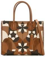 Michael Kors Mercer Acorn Brown Floral Patchwork Tote Bag