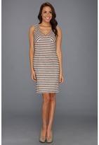 Anne Klein Linen Stripe Sheath Dress (Dark Oak Multi) - Apparel
