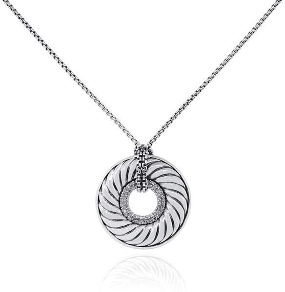 David Yurman 925 Sterling Silver 0.75ct Diamond Pendant Necklace