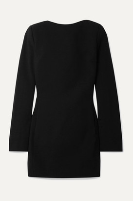 Saint Laurent Open-back Bow-embellished Wool-crepe Mini Dress - Black