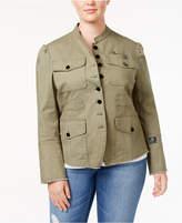 William Rast Trendy Plus Size Bragg Cotton Military Jacket
