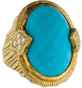 Judith Ripka 18K Turquoise & Diamond Cocktail Ring