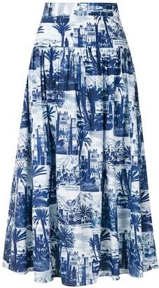 Andrea Marques Gathering Panel Midi Skirt