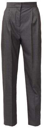 Alexander McQueen Metallic-pinstriped Wool-blend Twill Trousers - Grey