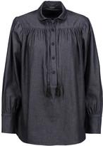 ADAM by Adam Lippes Tasseled cotton-chambray blouse