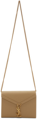 Saint Laurent Taupe Cassandra Chain Wallet Bag
