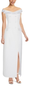Adrianna Papell Off-The-Shoulder Tuxedo Gown