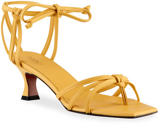 MANU Atelier 50mm Calfskin Strappy Ankle-Tie Sandals, Yellow