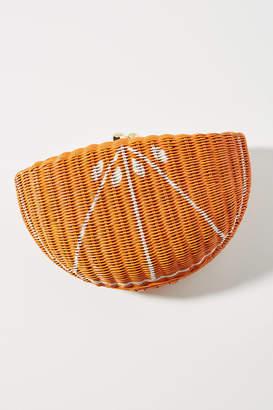 Serpui Marie Orange Wicker Clutch