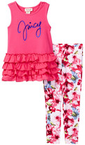 Juicy Couture Ruffle Tunic & Photo Real Floral Legging Set (Little Girls)