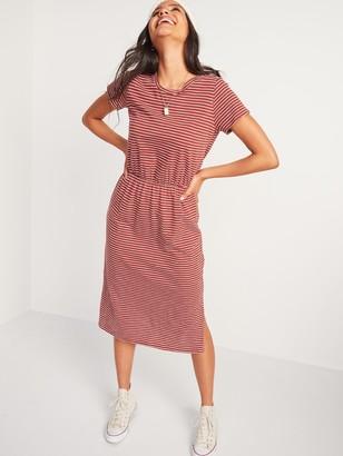 Old Navy Waist-Defined Slub-Knit Midi T-Shirt Dress