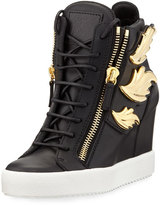 Giuseppe Zanotti Metallic Wing Leather High-Top Wedge Sneaker, Black (Nero)