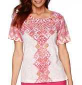 Alfred Dunner Tropical Punch Short-Sleeve Burnout Top
