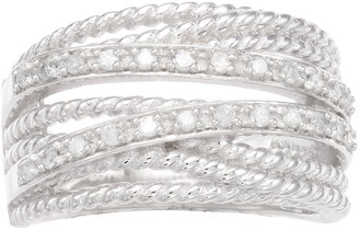 1/4 Carat T.W. Diamond Sterling Silver Rope Ring