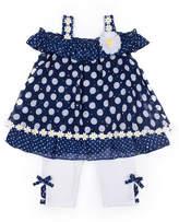 Little Lass Chiffon Daisy Trim Legging Set-Preschool Girls