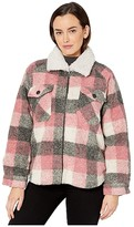 True Grit Dylan By Dylan by Square Plaid Pile Hunter Shirt Jacket with Double Pocket and Sherpa Collar (Pink) Women's Clothing