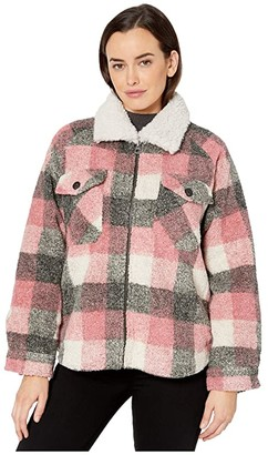 True Grit Dylan by Square Plaid Pile Hunter Shirt Jacket with Double Pocket and Sherpa Collar (Pink) Women's Clothing