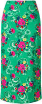 Marni floral embroidered straight skirt