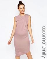 Asos Bodycon Dress With Drape Shoulder And Aysmmetric Hem