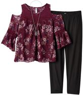 Knitworks Girls 7-16 & Plus Size Cold Shoulder Crochet Chiffon Top & Leggings Set with Necklace