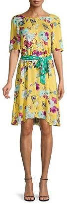 Hale Bob Floral-Print A-Line Dress