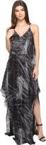 Halston Sleeveless Cami Flowy Printed Gown Women's Dress