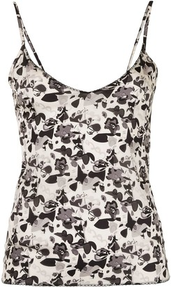 Chanel Pre Owned 2005 Camelia print camisole