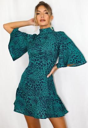 Missguided Green Animal Print Flutter Sleeve Skater Dress