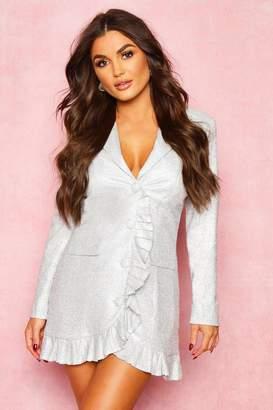 boohoo Sparkle Pleated Blazer Dress