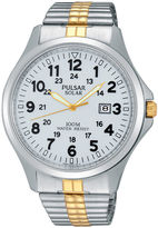 Pulsar Traditional Mens Two-Tone Stainless Steel Solar Expansion Strap Watch PX3071