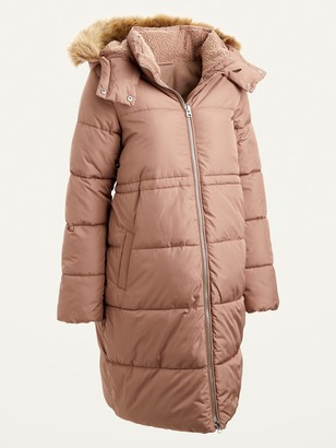 Old Navy Maternity Frost-Free Long Hooded Puffer Coat