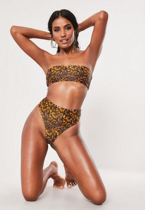Missguided Brown Tortoise Shell Mix And Match High Waisted High Leg Thong Bikini Bottoms