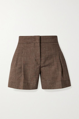 CASASOLA + Net Sustain Pleated Melange Organic Wool, Silk And Linen-blend Shorts