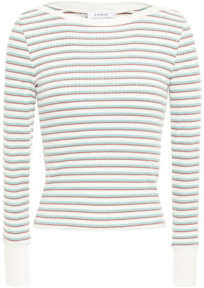 Frame Striped Ribbed Jersey Top