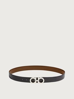 Salvatore Ferragamo Men Reversible and adjustable Gancini belt Black