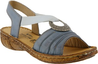 Spring Step Leather Wedge Sandals - Karmel
