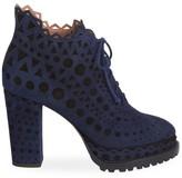 Alaia Lace-Up Laser Cut Suede Ankle Boots