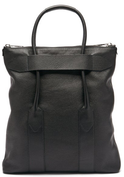 Thumbnail for your product : Maison Margiela Foldable Grained-leather Tote Bag - Black